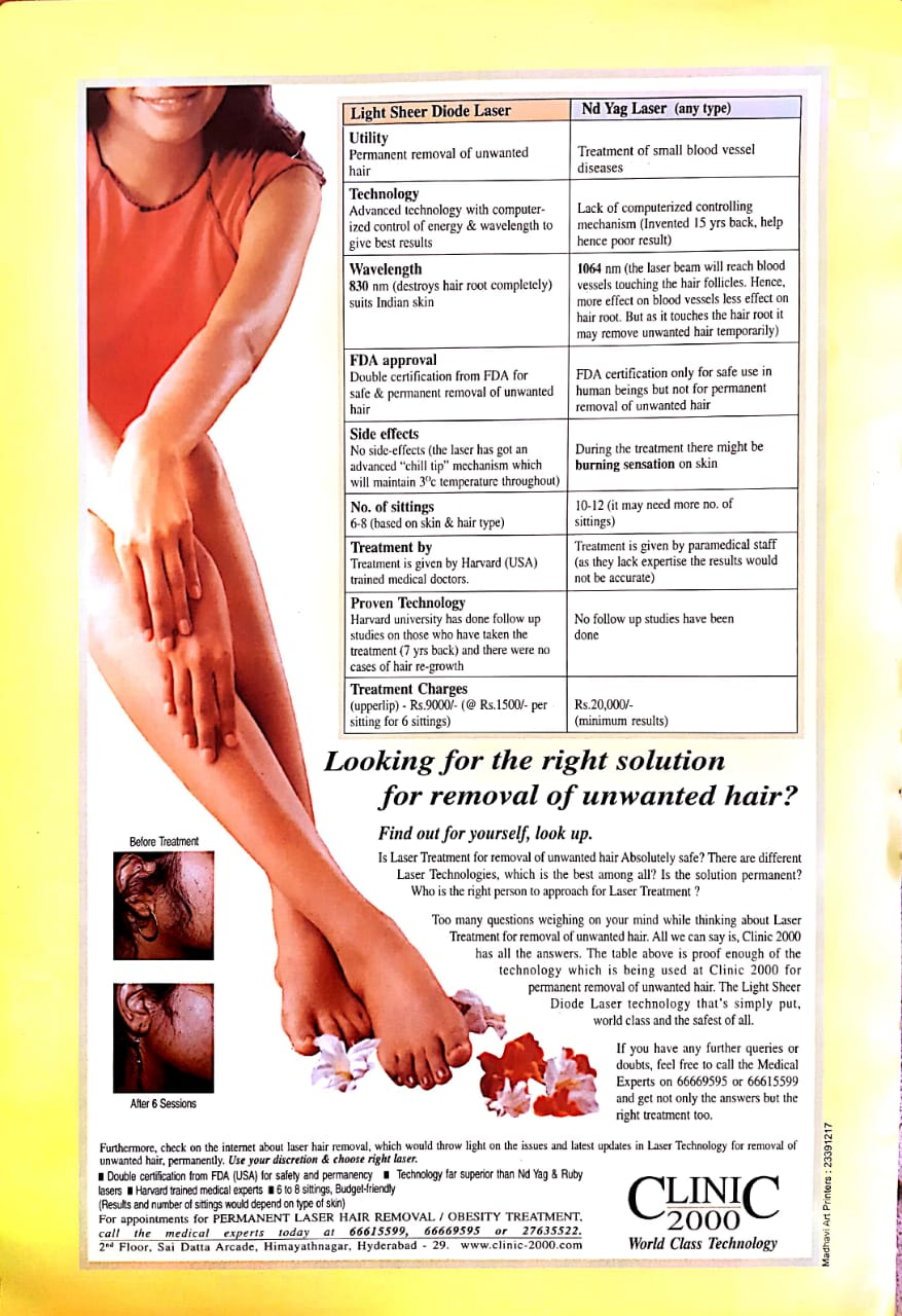 Advanced Laser Hair Removal Clinic In Hyderabad Clinic 2000